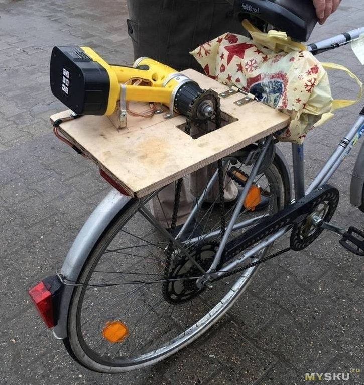 how to make an electric bike with a drill