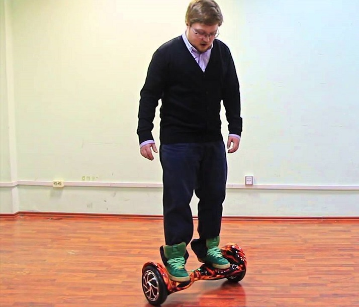 standing on hoverboard